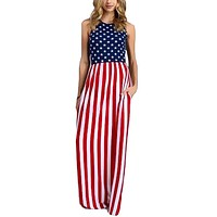 Sleeveless Fitted USA American Flag Print Maxi Dress