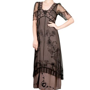 Nataya 40007 Women's Vintage Titanic Tea Party Dress in Black/Coco