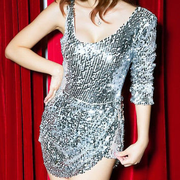 Most Popular Special  2015 Woman Clothing Fashionable Elegant Special Occasion Silver Long Sleeve Sequin Bodycon Dress