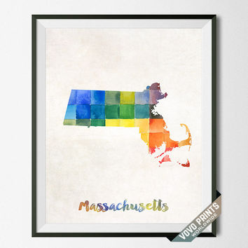 Massachusetts, Map, Print, Boston, Home Town, Dorm, Art, USA, Poster, Watercolor, Painting, States, America, Wall Decor, Watercolour [NO 21]