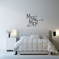 Mr and Mrs Vinyl wall decal for master bedroom vinyl lettering vinyl  wall words wall quotes Mr and Mrs