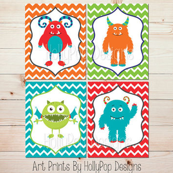 Monster Nursery Art Bright Colorful Boys Room Wall Art Boy Wall Decor Orange Turquoise Lime Nursery Prints Toddler Boy Bedroom Art #1261