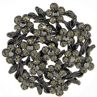 Hematite Floral Brooch Crystal Vintage-Style Wreath Pin White Flower p290h