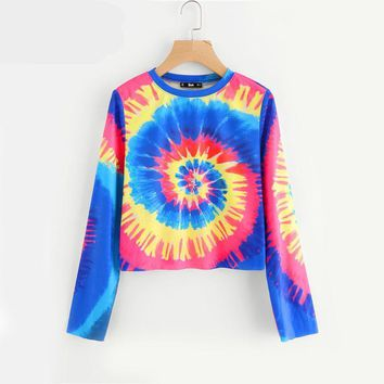 Ladies Spiral Tie Dye Women Long Sleeve Crop Top