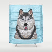 Happy Husky Shower Curtain by ArtLovePassion