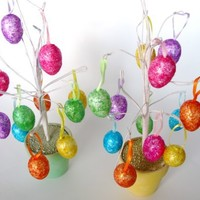 Gift Pack Of 2 Easter Holiday Decorative Themed Egg Trees - ORNAMENT DESIGNS VARY AND MAY DIFFER...