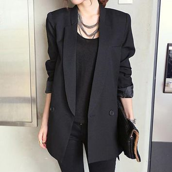 2018 Solid Long Style Black Women Jacket and Blazer Female Notched Collar Asymmetrical Chic Ladies Blazers feminino