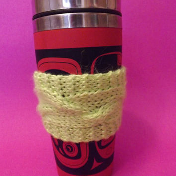 Knitted Coffee Cozy - To-Go Sleeve - Knitted To-Go Sleeve - Knitted Coffee or Tea Cozy