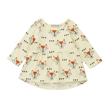 Baby Kids girls dress Fox Cartoon Print Princess dresses Long sleeve Toddler Baby Kids Girls Dress Clothes Outfits drop ship