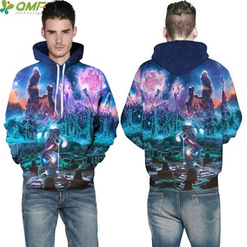 Cartoon Space Galaxy Men Hooded Tops Harajuku Streetwear Sweatshirts Psychedelic World Skateboarding Hoodies Pullovers Hoody