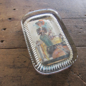 Antique Glass Paperweight with Picture of Lady