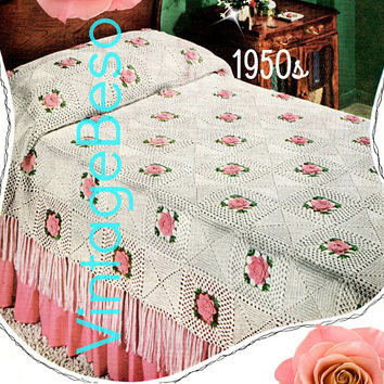INSTANT DOWNlOAD - PdF Pattern - Afghan Crochet PATTERN Vintage 1950s Daisy Bedspread Retro Crochet Pattern Granny Square