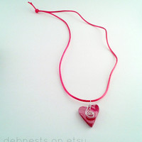 Polymer Clay Heart Necklace for Valentine's Day in Red and Pink
