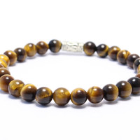 Tiger eye beaded stretchy bracelet 5mm custom made yoga bracelet