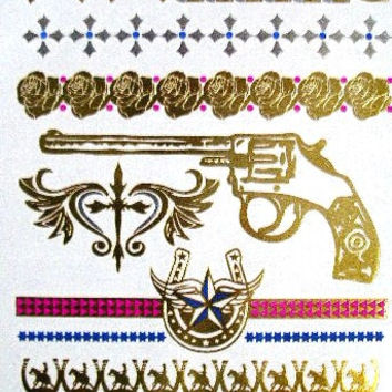 Cowgirl Metallic Temporary Tattoos Gold Six Shooters Guns Horseshoes Roses Horse Riders Fleur De Lis Crosses Bullets Arrows Stars