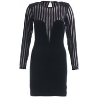 Motel Women's Pansy Velvet Mesh Bodycon Dress (Black)