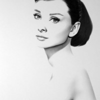 Audrey Hepburn Pencil Drawing Portrait Classic Hollywood Vintage Glamour Fine Art Print Hand Signed by Artist