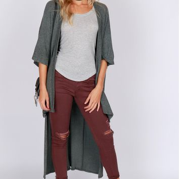 High-Low Knit Cardigan Jade