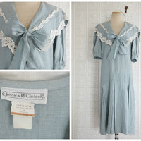 Light Blue Linen Dress with Lace-Trimmed Sailor Style Bow Collar, Drop Waist and Short Sleeves - Vintage Jessica McClintock
