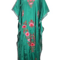 Boho Kaftan Green Silk Embroidered Kimono Sleeves Abya Maxi Lounger Caftan Dress: Amazon.com: Clothing