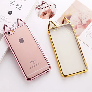 Fashion Cat ear Clear Silicon Soft TPU Celular For iPhone Case On 5S 5SE 6S 6 Plus Transparent Back Cover For Apple 5 6 6S Plus