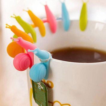5 PCS Snail Wineglass Label For Tea Bag Hanging Mug Cup Clip Tea Infuser Party Supplies Color Random New