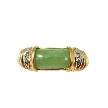 14k Gold Jade Ring w Diamond Accents 2 cts of Nephrite Jade