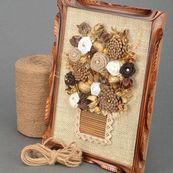 OOAK Handmade wall Panel Wall decoration Eco friendly Natural materials Pine cone