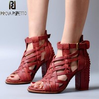 Prova Perfetto Full Leather Narrow Band Knitting Women Sandals Hollow Out Peep Toe Chunky High Heel Rome Style Summer Shoes