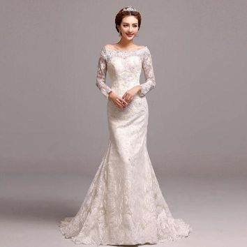 DCCKIX3 Luxurious 2015 new luxury lace sleeve mermaid bride wedding dress = 1929542468
