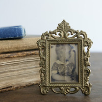 Victorian Picture Frame - Vintage 1920's Tiny Brass Metal Picture Frame