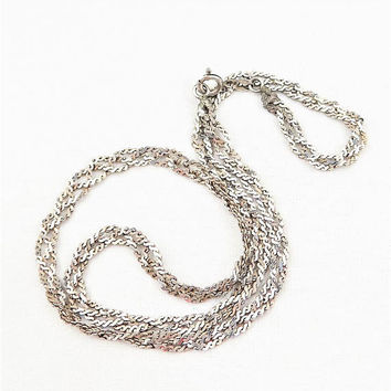 "Sterling Silver Tinsel or Twisted Serpentine Chain, 16 3/4"" Necklace, Made in Italy, Vintage Jewelry Chain"