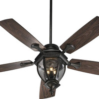 "0-000847>Baltic Patio 3-Light Indoor/Outdoor 52"" 5-Blade Patio Ceiling Fan Oiled Bronze"