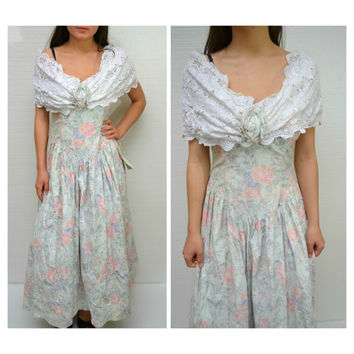 Gunne Sax Scott McClintock Jessica McClintock Women's Floral Off Shoulder Dress Size 8