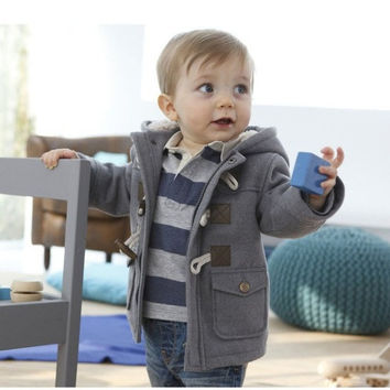 [S.Y.C] Baby Boys Jacket 2015 New Winter Clothes 4 Color Outerwear Coat Cotton Thick Kids Clothes Children Clothing with Hooded ( Gray & Blue & Red & Khaki ) = 1930421828