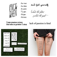 Youthful Exuberance - Temporary Tattoo Quote (Set of 6)