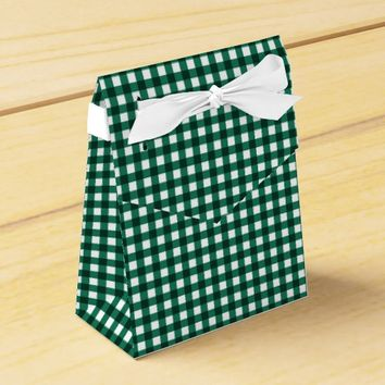 Gingham-Jade Green-Favor Box, Tent Favor Box