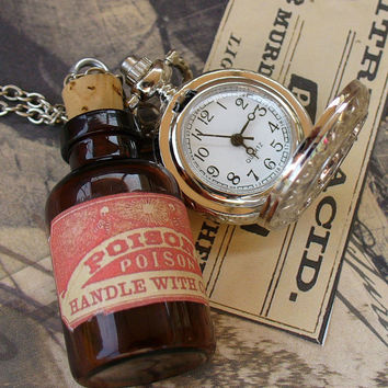 Steampunk pocket WATCH flask mini SHOT by UmbrellaLaboratory