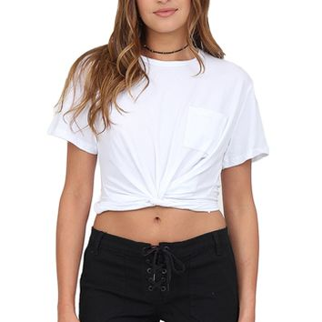 White Twisted Front Tee at Blush Boutique Miami - ShopBlush.com : Blush Boutique Miami – ShopBlush.com