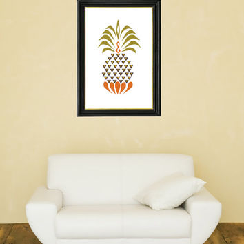 Pineapple Print - Mid Century Modern Colors - Beach Art - Cottage Art - Living Room Art - Tropical Decor