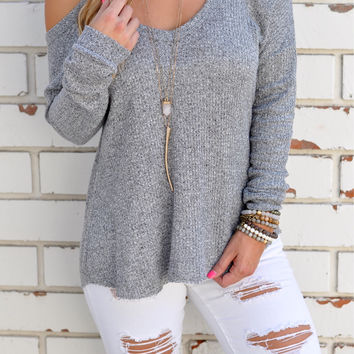 Light Gray Cold Shoulder Sweater