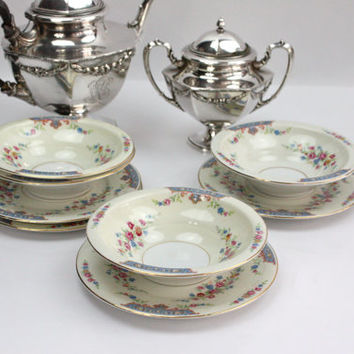 Dessert Bowls and Plate Sets / Royal Crown /  SETS of 4