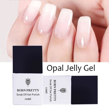 BORN PRETTY Opal Jelly Gel Polish 10ml 5ml White Soak Off UV Gel Nail Polish Varnish Manicure Nail Art Decoration UV LED