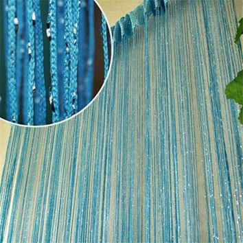 Modern 13 Colors Vogue Curtains Silver Silk Tassel String 200cm x 100cm Tulle Valance Divider Curtains For The Living Room