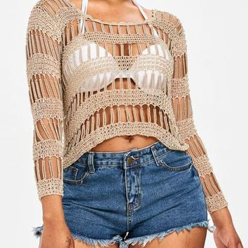 Cover ups Bikini Beading Hollow Out Crochet Bikini Cover Up See-Through Beach Cover Up Women De Plage Swimsuit  Beach Wear Tunic KO_13_1