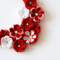 Red flower bib necklace, Flower necklace, Red, White, Flower accessories, Kanzashi, Ribbon flowers