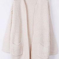 Warm Whole Color Open Front Cardigan