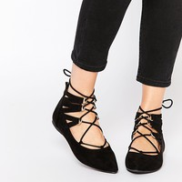 Call It Spring Miraeni Black Tie Up Flat Shoes