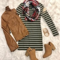She's Looking at You Tunic Dress: Olive