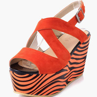 Open Toe Zebra Print Wedge Sandals